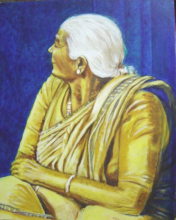 Usha Poster featuring the painting Golden Age 1 by Usha Shantharam