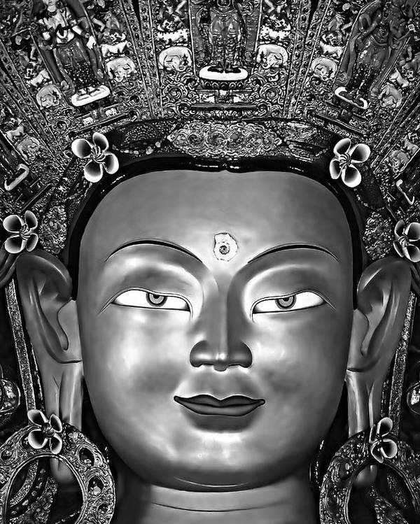 Buddhism Poster featuring the photograph Golden Buddha Monochrome by Steve Harrington