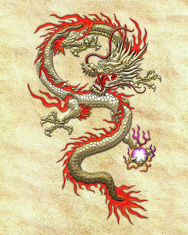 Golden Chinese Dragon Fucanglong On Rice Paper Poster by Serge Averbukh