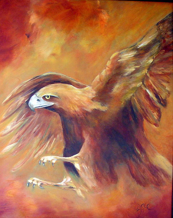 Golden Eagle Poster featuring the painting Golden Eagle by Zoe Landria