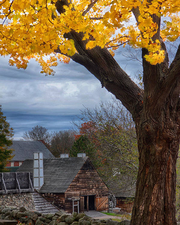Autumn Foliage New England Poster featuring the photograph Golden Fall Colors Over Iron Works by Jeff Folger