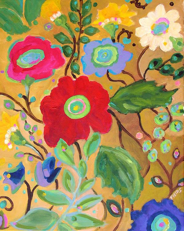 Flowers Poster featuring the painting Golden Garden by Karen Fields
