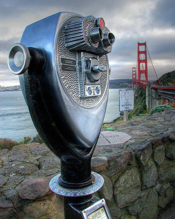 California Poster featuring the photograph Golden Gate Binoculars by Peter Tellone