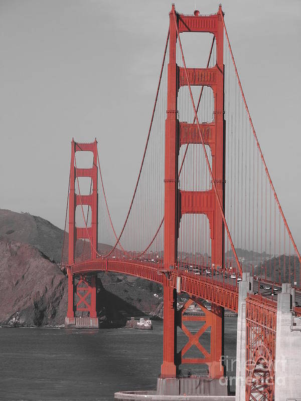 Golden Gate Poster featuring the photograph Golden Gate Black And White by Jeff White