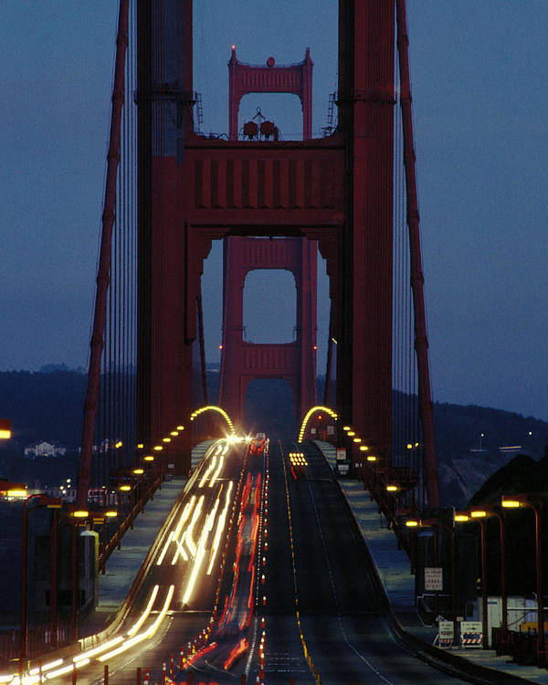 Evening Poster featuring the photograph Golden Gate Bridge by Carl Purcell