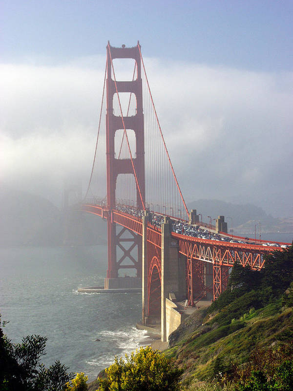 Golden Gate Poster featuring the photograph Golden Gate Bridge In The Fog by Mathew Lodge