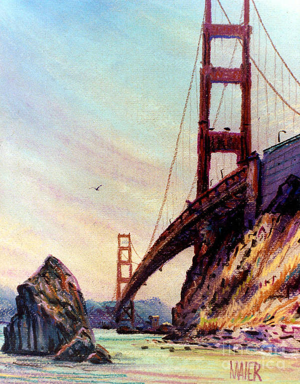 Golden Gate Bridge Poster featuring the painting Golden Gate Bridge Looking South by Donald Maier