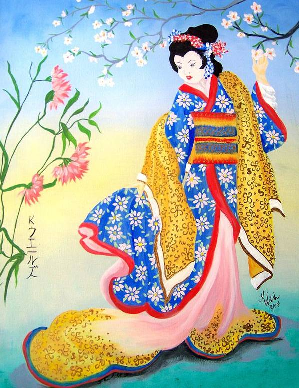 Geisha Poster featuring the painting Golden Geisha by Kathern Ware