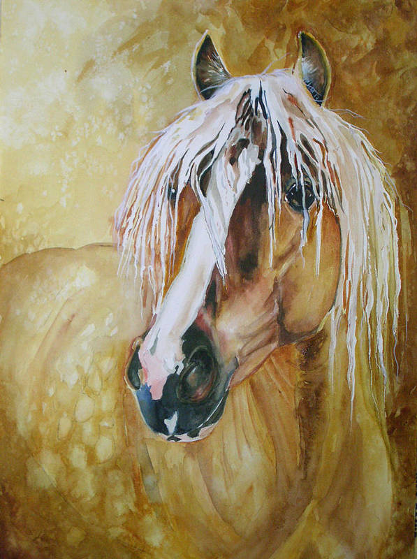 Equine Poster featuring the painting Golden Lance by Gina Hall