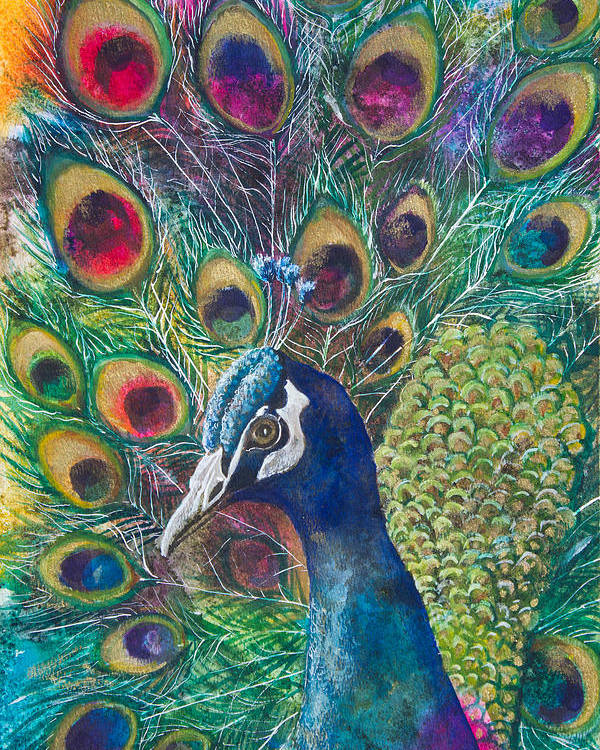 Peacock Poster featuring the mixed media Golden Peacock by Patricia Allingham Carlson