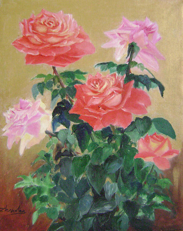 Floral Poster featuring the painting Golden Roses by Lian Zhen