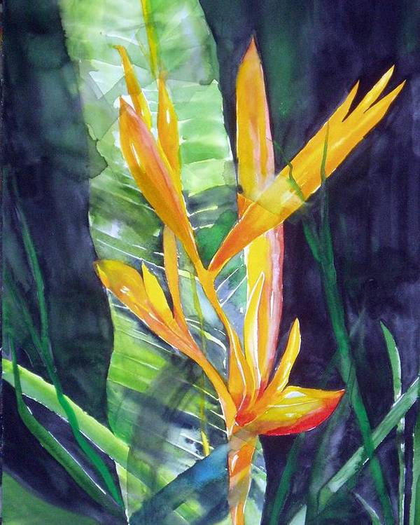 Tropical Plant Poster featuring the painting Golden Torch by Maritza Bermudez