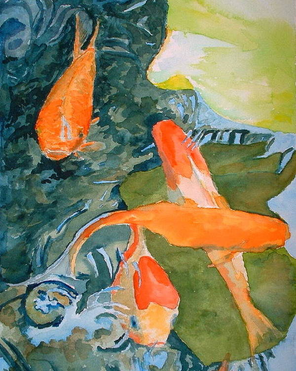 Goldfish Poster featuring the painting Goldface - Watercolor by Donna Hanna