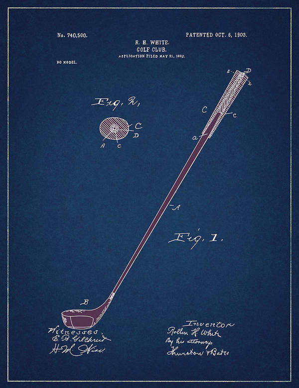 Golf Poster featuring the digital art Golf Club Patent Drawing Navy Blue 4 by Bekim M
