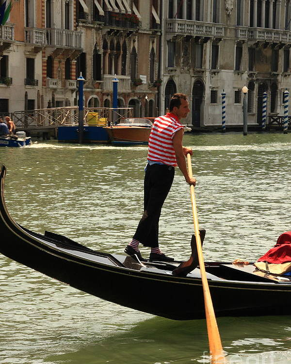 Venice Poster featuring the photograph Gondolier With Matching Socks by Michael Henderson