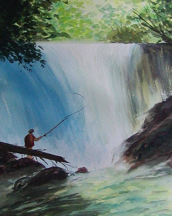 Fishing Landscape Poster featuring the painting Gone Fishing by Sharon Steinhaus
