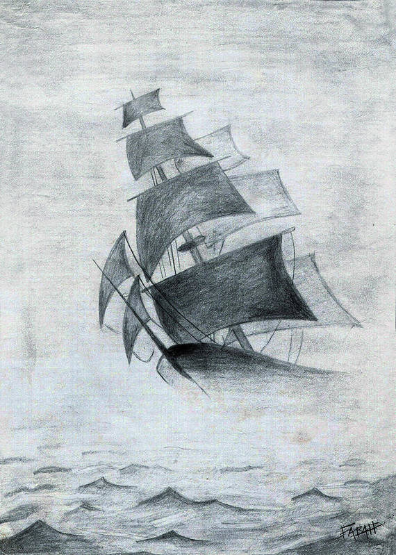 Sailboats Poster featuring the drawing Gone With The Wind by Farah Faizal