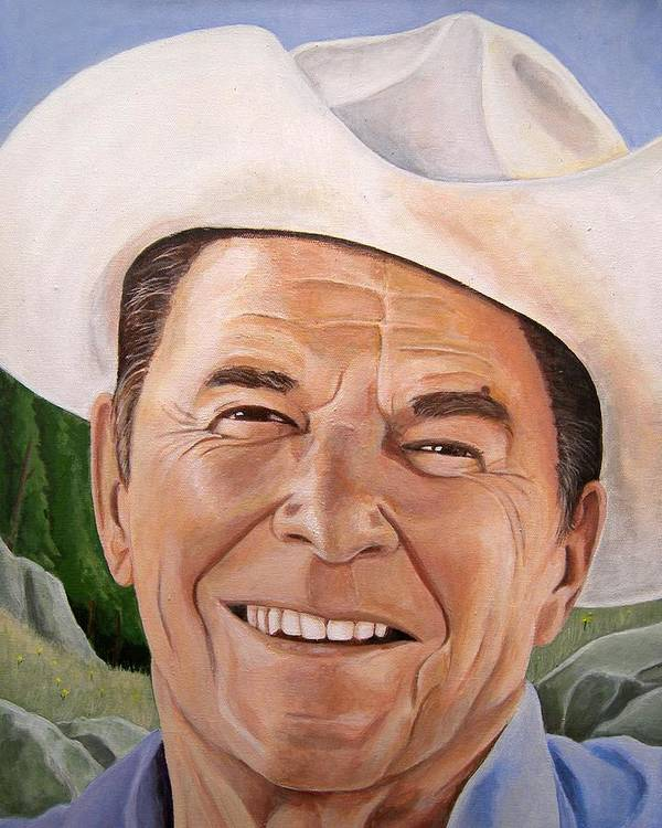 Cowboy Poster featuring the painting Good Guys Wear White Hats by Kenneth Kelsoe