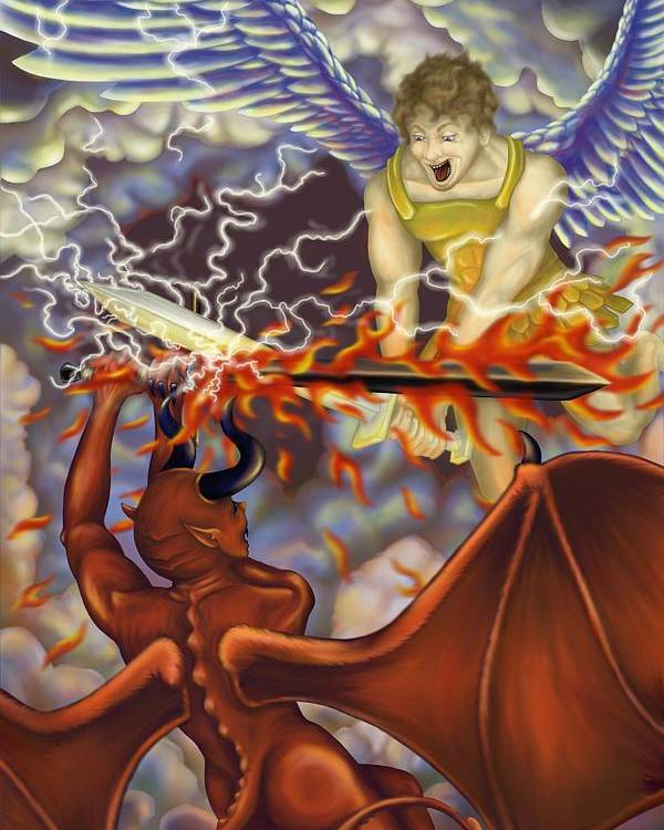 Digital Poster featuring the painting Good Vs Evil by Tom Wrenn