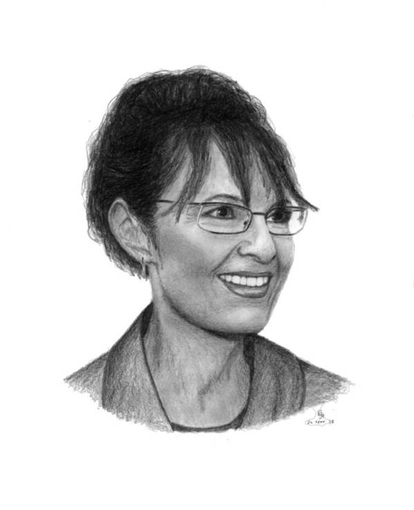 Palin Poster featuring the drawing Gop Vp Candidate Sarah Palin by Charles Vogan