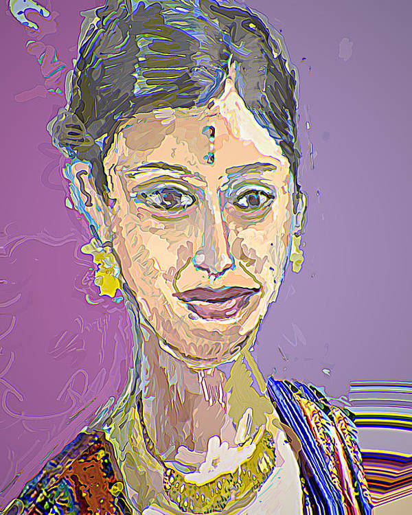 Portrait Poster featuring the mixed media Gopika II by Noredin Morgan