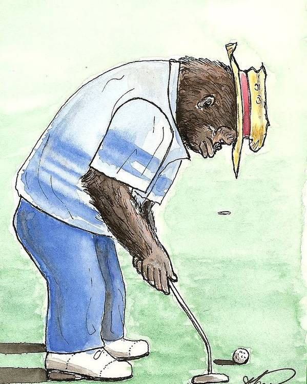 Golf Poster featuring the painting Got You Now by George I Perez