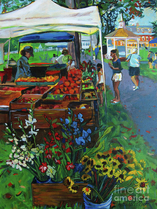 Grafton Poster featuring the painting Grafton Farmer's Market by Allison Coelho Picone