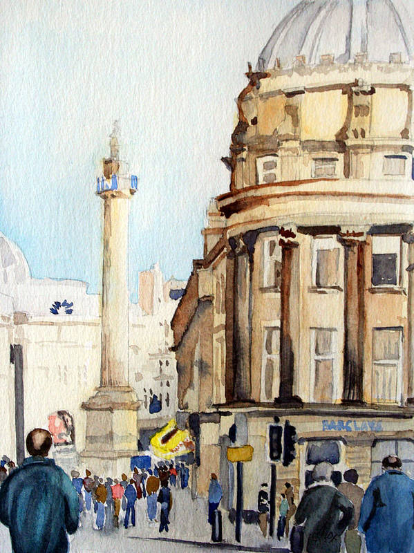 City. Newcastle. England. Poster featuring the painting Grainger Monument. Newcastle Upon Tyne by John Cox