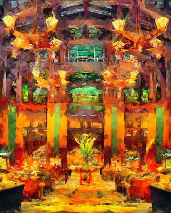 Grand Californian Resort Poster featuring the digital art Grand Californian Resort Lobby by Caito Junqueira