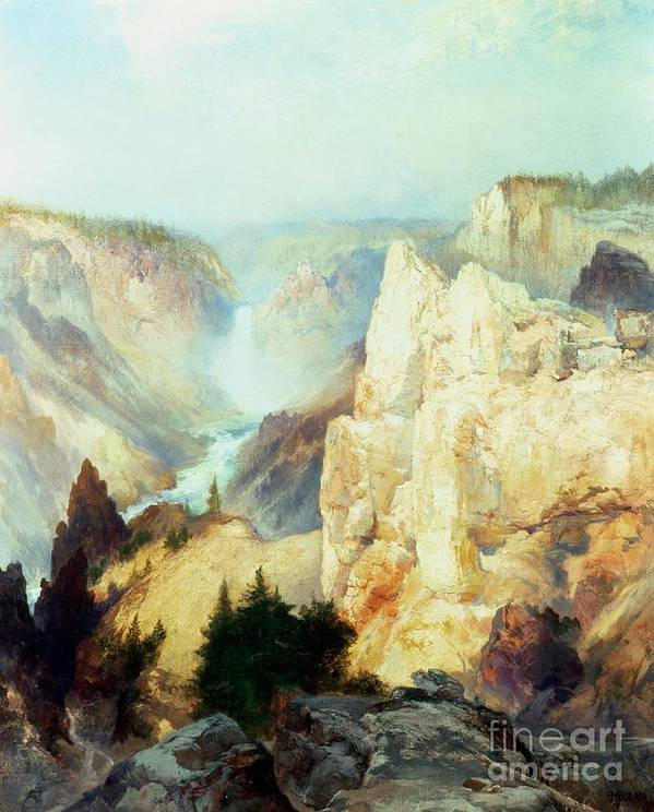 Grand Canyon Of The Yellowstone Park (oil On Canvas) By Thomas Moran (1837-1926) Thomas Moran Poster featuring the painting Grand Canyon Of The Yellowstone Park by Thomas Moran