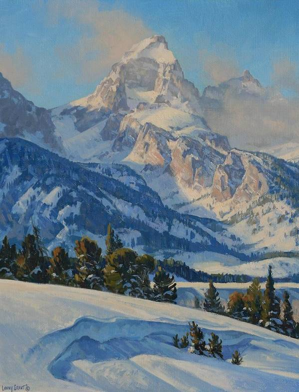Landscape Poster featuring the painting Grand Teton by Lanny Grant