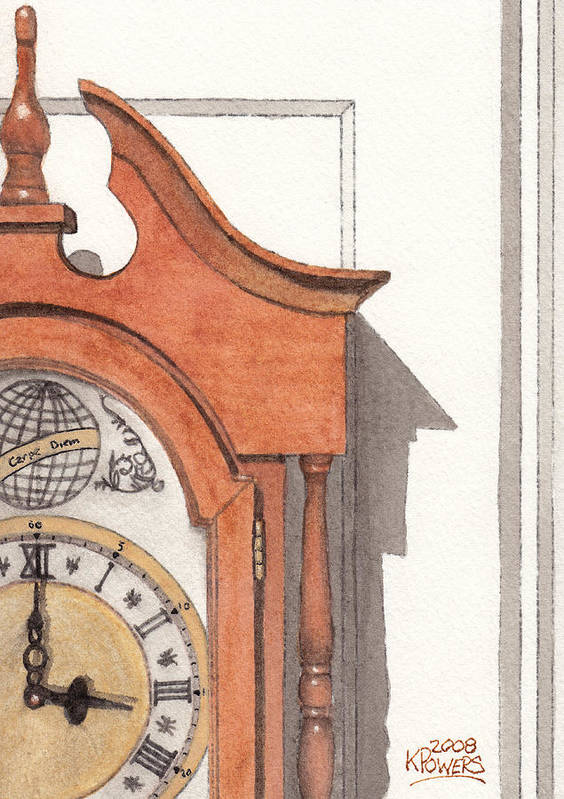 Watercolor Poster featuring the painting Grandfather Clock by Ken Powers