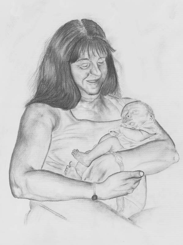 Drawing Poster featuring the drawing Grandma And Grandchild by Russ Smith