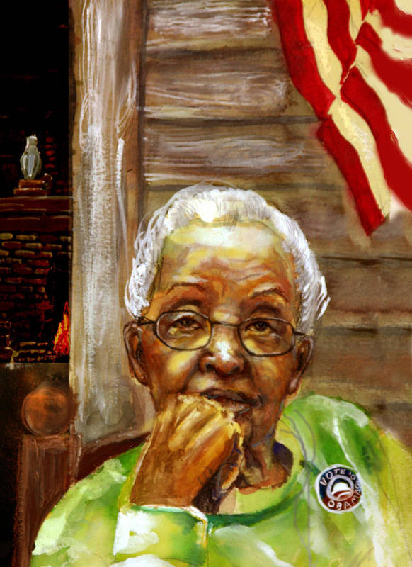 Portrait Poster featuring the painting Grandma For Obama by Gary Williams
