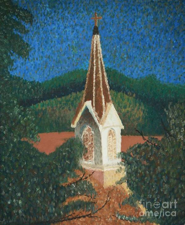 Grandma's Church Poster featuring the painting Grandmas Church by Jacqueline Athmann