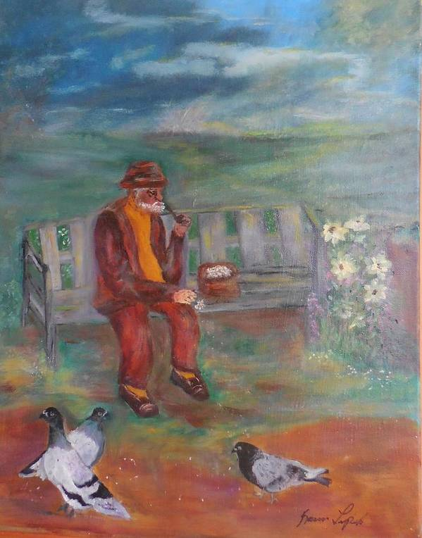 Landscape Poster featuring the painting Grandpa With Pigeons by Karen Lipek