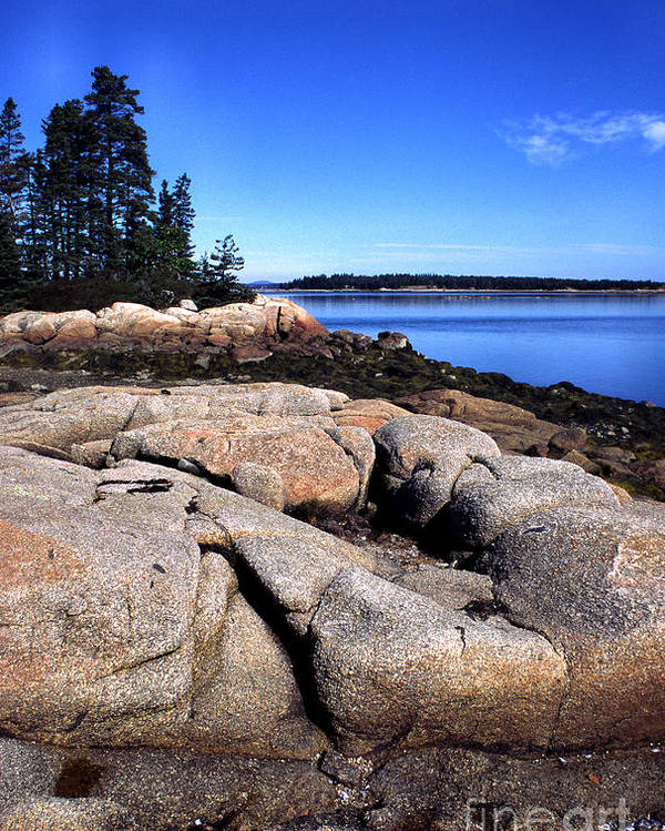Deer Isle Poster featuring the photograph Granite Shoreline Deer Isle Maine by Thomas R Fletcher