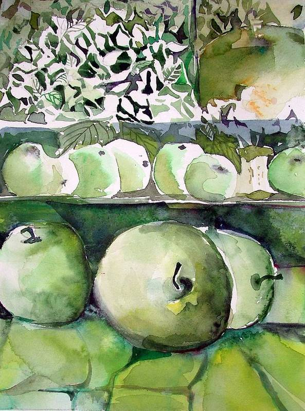 Apple Poster featuring the painting Granny Smith Apples by Mindy Newman
