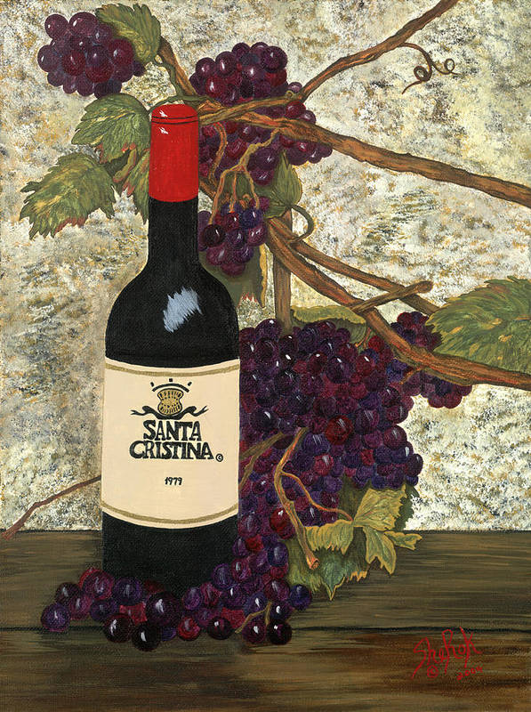 Still Life Poster featuring the painting Grapes And Wine by SheRok Williams