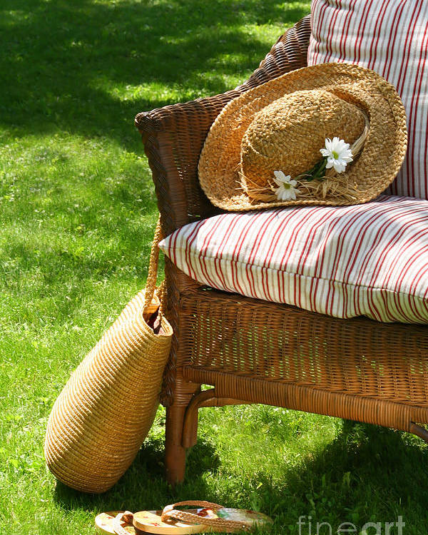 Afternoon Poster featuring the digital art Grass Lawn With A Wicker Chair by Sandra Cunningham