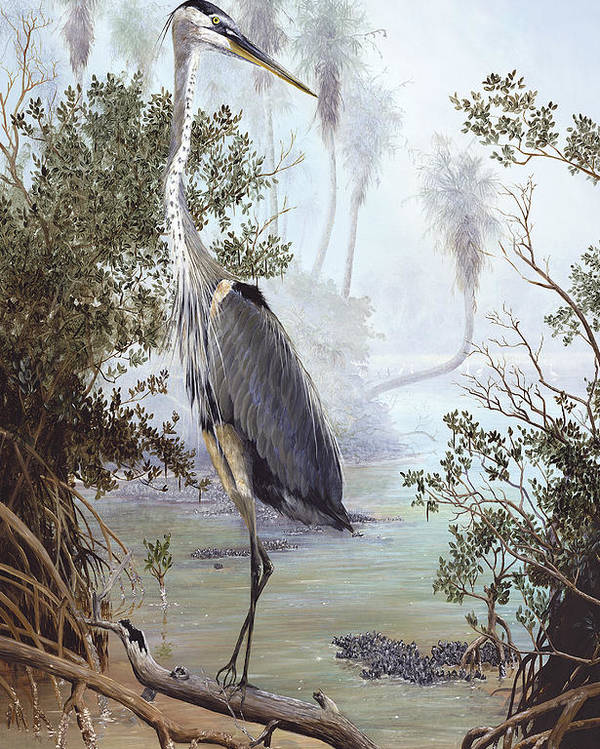 Blue Heron Poster featuring the painting Great Blue Heron by Kevin Brant