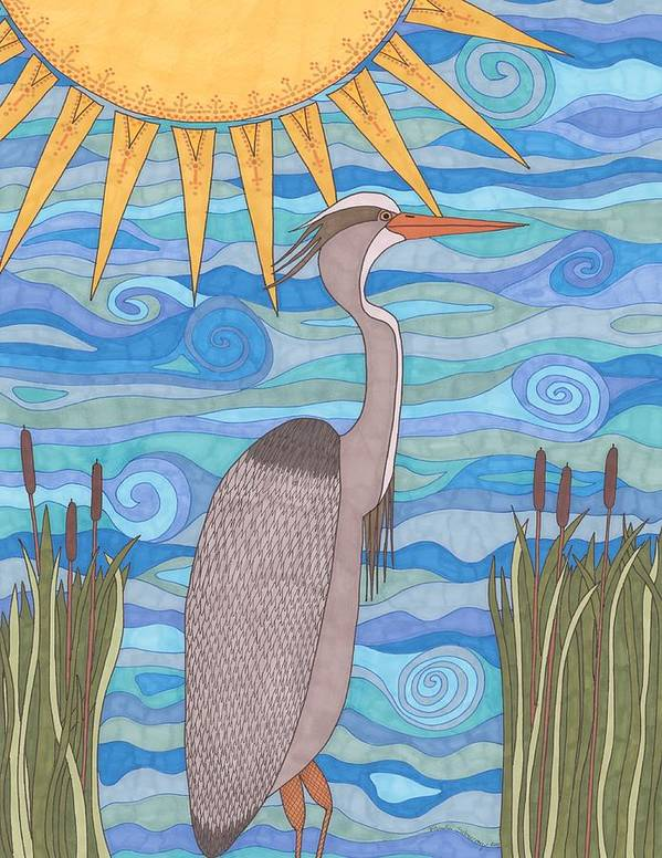 Heron Poster featuring the drawing Great Blue Heron by Pamela Schiermeyer