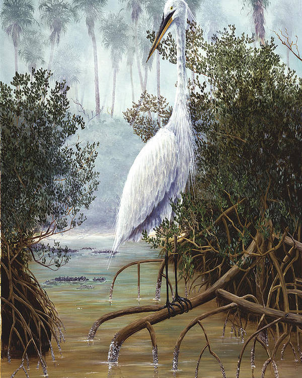 White Heron Poster featuring the painting Great White Heron by Kevin Brant