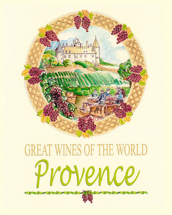 Wine Poster featuring the painting Great Wines Of The World - Provence by John Keaton