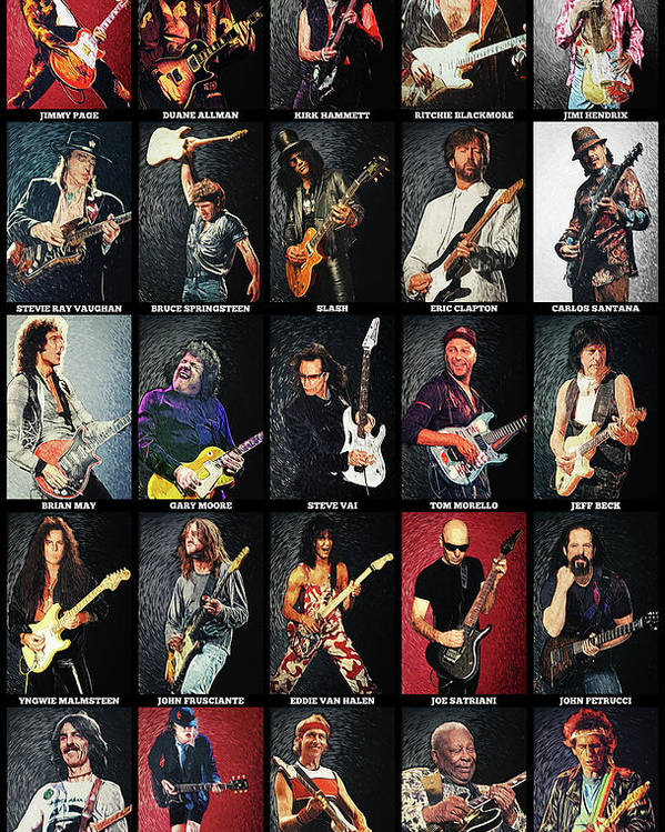 Guitar Poster featuring the digital art Greatest Guitarists Of All Time by Zapista OU