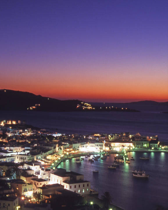Greece Poster featuring the photograph Greece Mykonos Harbor. Dusk by Steve Outram