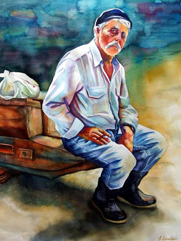 Portrait Poster featuring the painting Greek Fisherman by Gail Zavala