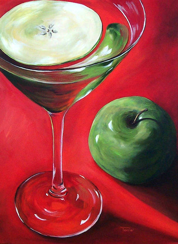 Martini Poster featuring the painting Green Apple Martini by Torrie Smiley