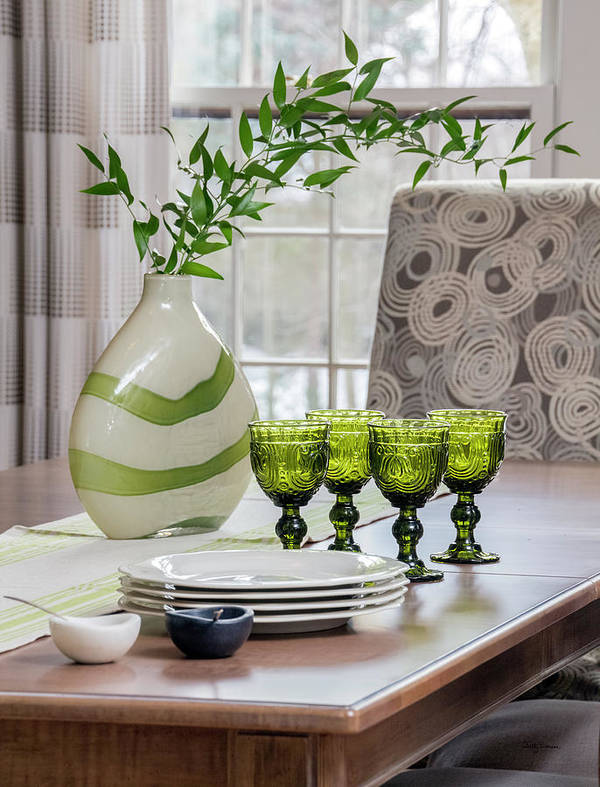 Glasses Poster featuring the photograph Green Decor Dinning Table Place Settings by Betty Denise