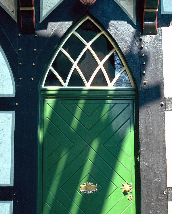 Green Poster featuring the photograph Green Door by Flavia Westerwelle